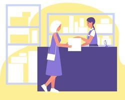 ponto de entrega de encomendas, balconista dá pacote para mulher, ótimo design para qualquer finalidade vetor