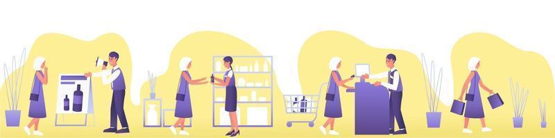 banner plano com viagem de compra do cliente vetor