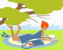 menina deitada e lendo parque para o projeto de conceito vetor