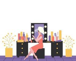 penteadeira de mulher plana para design de estilo de vida vetor