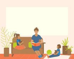 mamãe lê um livro para as crianças em casa vetor