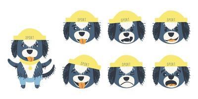 conjunto de emoções de um fofo cão aquático português vetor
