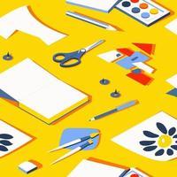 padrão sem emenda de artigos de papelaria em um fundo amarelo ensolarado vetor