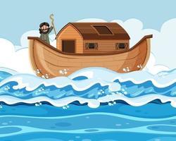 noé sozinho em sua arca na cena do oceano vetor