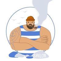 marinheiro com tatuagem em uma camiseta listrada e com um cachimbo vetor