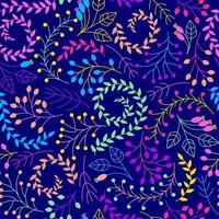 sem costura padrão floral em um fundo azul escuro. vetor
