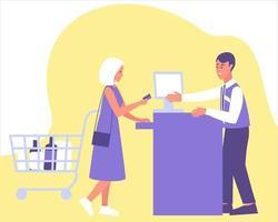 mulher paga uma compra com cartão no caixa vetor