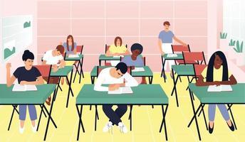 os alunos respondem a perguntas sobre o dever de casa na sala de aula vetor