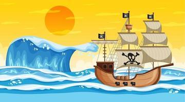 cena do oceano na hora do pôr do sol com um navio pirata em estilo cartoon vetor