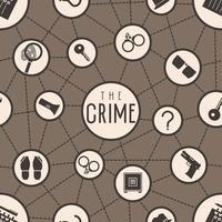 ícones de crime de detetive de padrão sem emenda vetor