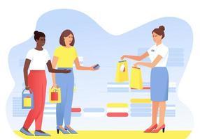 duas namoradas fazendo compras vetor
