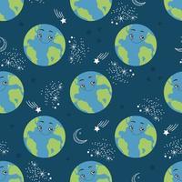 planeta Terra padrão sem emenda dos desenhos animados. personagem globo feliz no espaço. ilustração vetorial para impressão têxtil, papel de embrulho e papel de parede vetor