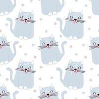 padrão sem emenda de um gato cinza entre as estrelas. ilustração infantil para papel de embrulho, papel de parede, cartões postais e fundo vetor