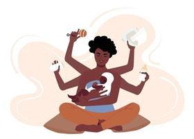 ocupada mãe afro-americana cuidando de seu filho. mãe negra multitarefa com seis mãos troca fraldas, alimenta e põe o bebê na cama. ilustração vetorial plana vetor