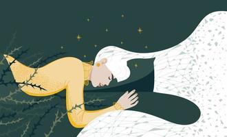a jovem não dorme bem, está inquieta. sonhos ruins, dor noturna. ilustração vetorial plana vetor