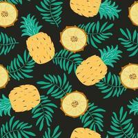 padrão sem emenda com abacaxi, fatias e folhas de palmeira. fundo de vetor exótico