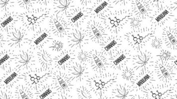padrão sem costura branco em estilo doodle com folhas de cannabis, garrafa de óleo cbd, fórmula química de cbd e logotipos de cannabis