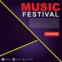 modelo de banner festival de música para postagem em mídia social, anúncios na web, cartaz. modelo de cartaz do festival de música. Folheto de plano de fundo 3D para festival de música. vetor