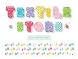 fonte têxtil brilhante para crianças. alfabeto colorido dos desenhos animados. perfeito para aniversário, chá de bebê. duas variantes de cada letra e número. vetor