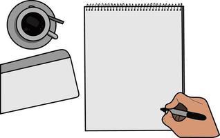 maquete de papel com uma xícara de café, envelope e uma mão segurando uma caneta vetor