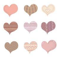 conjunto de coração, amo o símbolo dos namorados. ícones pintados de coração em fundo branco. uma coleção de corações boho manuscritos. artes criativas, um conceito moderno. ilustração vetorial vetor