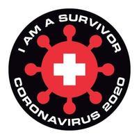Eu sou um sobrevivente do coronavírus 2020 na bandeira da Suíça vetor