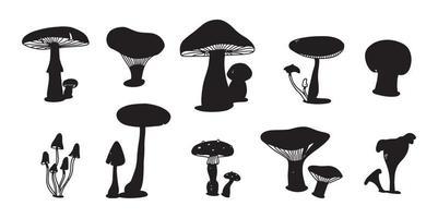 conjunto de doodle colorido cogumelo. vários cogumelos desenho plano desenhado de mão. champignon, chanterelle e shiitake. vetor