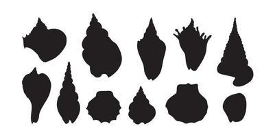 silhueta conjunto de concha do mar. concha do mar de várias formas. forma diferente de concha do mar. vetor