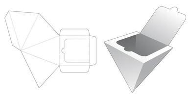 caixa de pirâmide com molde de corte e zíper vetor