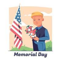 dia do memorial com criança fazendo um momento de silêncio vetor
