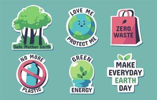 coleção divertida de adesivos de conscientização do Dia da Terra vetor