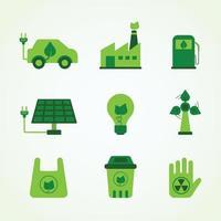 conjunto de ícone de tecnologia verde vetor