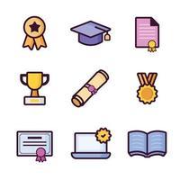 ícone de graduação definido com estilo de linha vetor