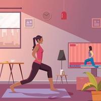 exercício de esporte em casa vetor