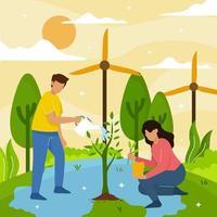 ilustração do conceito de salvar o planeta vetor