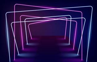 fundo de corredores com luz de néon vetor