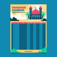 calendário mesquita ramadã vetor