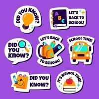 Pacote de adesivos de escola fofos e divertidos vetor