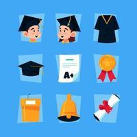 pacote de ícones de formatura infantil vetor