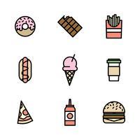 Delineou ícones coloridos Fast Food vetor