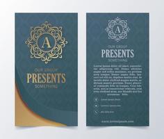 cartão de visita de luxo e modelo de vetor de logotipo de ornamento vintage. retro elegante floresce design de moldura ornamental e plano de fundo padrão.