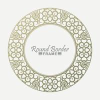 luxuoso design floral redondo dourado vetor