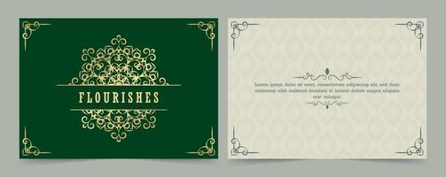 ornamento vintage cartão caligrafia redemoinhos ornamentados e vinhetas vetor