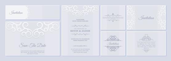 conjunto de cartão de convite de casamento com ornamentos florais vetor