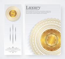 capas e cartões luxuosos em estilo mandala branco e dourado vetor