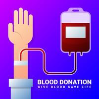 Ilustração plana de transfusão de doador de sangue vetor