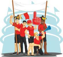 Ilustração em vetor desenho animado fãs de esporte torcendo