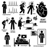 sintomas de doenças cardiovasculares ataque cardíaco doença arterial coronariana causa diagnóstico de fatores de risco ícones de pictograma de figura de palito.