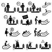 ícones de pictograma de símbolos e sinais de aviso de escada rolante. vetor
