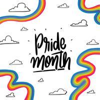 Rainbows bonitos e letras sobre o mês do orgulho vetor